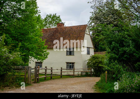 Willy Lotts House, near Deadham Lock and Flatford Mill on the River Stour,   East Bergholt, Suffolk , UK. The area - Stock Photo