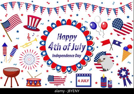 Independence Day America celebration in USA, icons set, design element, flat style. Collection objects for July - Stock Photo