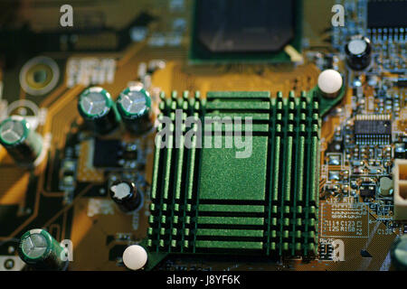 Close-up of the pcb track of a desktop computer motherboard detail cpu