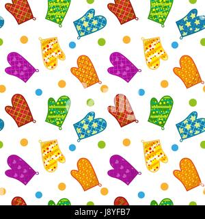 Kitchen potholders seamless pattern. Mittens for cooking endless background, repeating texture. Isolated on white - Stock Photo
