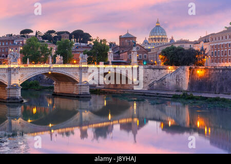 Saint Peter Cathedral at sunset in Rome, Italy. - Stock Photo