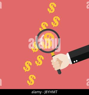 Hand holding magnifying glass over money print. Vector illustration - Stock Photo