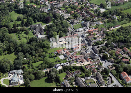 aerial view of Monk Fryston Hall, Yorkshire, UK - Stock Photo
