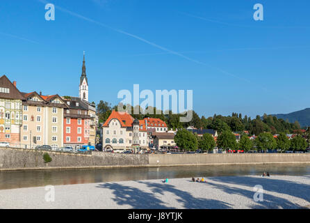 View towards the historic old town from the River Iser in the late afternoon, Bad Tölz, Bavaria, Germany - Stock Photo