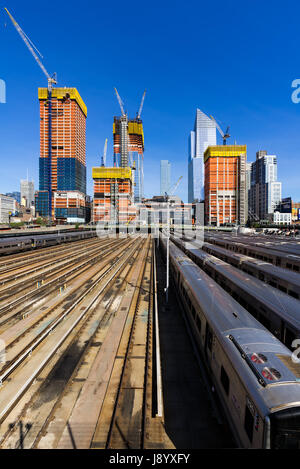 The Hudson Yards construction site with railway tracks (2017). Midtown, Manhattan, New York City - Stock Photo