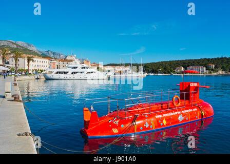 Semisubmarine, cruise for tourists, port, Obala kralja Tomislava, seaside promenade, Makarska, Dalmatia, Croatia - Stock Photo