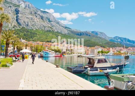 Obala kralja Tomislava, seaside promenade, Makarska, Dalmatia, Croatia - Stock Photo