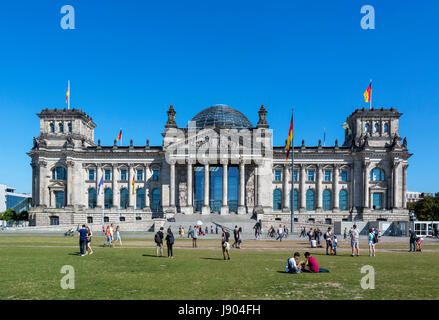 The Reichstag building from the edge of the Tiergarten, Mitte, Berlin, Germany - Stock Photo