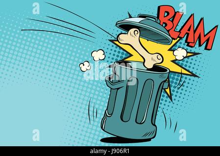Bone dog flies in the trash. Cartoon comic illustration pop art retro style vector - Stock Photo