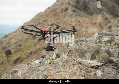 Shooting video from a DJI S900 UAV drone with Panasonic GH4 camera on board, working on the set of The Ridge with - Stock Photo