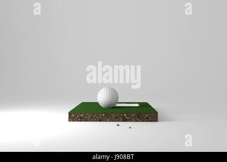 3d rendering of cross section from golf course with ball and hole on it - Stock Photo