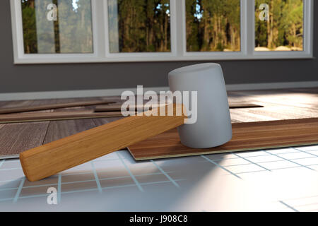 3d rendering of hammer laying on laminate panels - Stock Photo