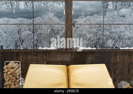 3d rendering of old empty book in front of wooden house and scenic winter landscape - Stock Photo