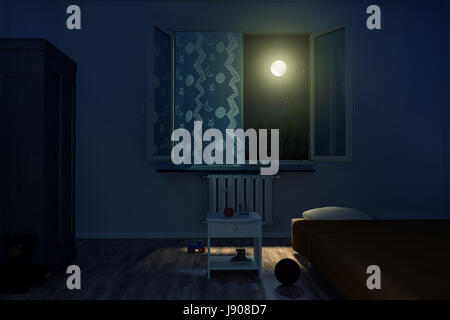 3d rendering of children's room at night with shining bright moon - Stock Photo