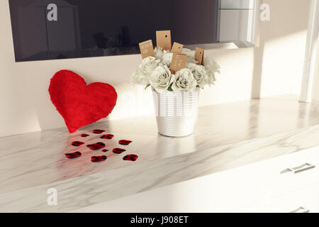 3d render of fluffy heart and bouquet of white roses on white marble dressing table to congratulate mother's day - Stock Photo