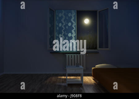 children's room at night in front of moonlight - Stock Photo