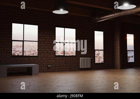 3d rendering of empty studio room with red bricks - Stock Photo