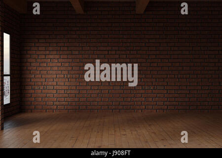 3d rendering of empty studio room with red bricks wall - Stock Photo