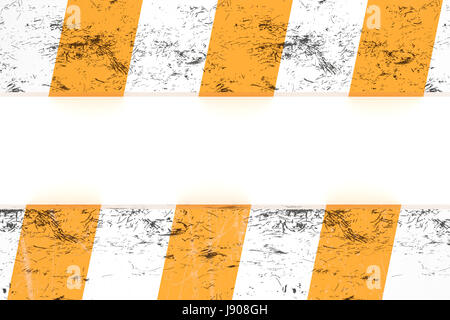 Isolated warning zone pattern in orange and white stripes - Stock Photo