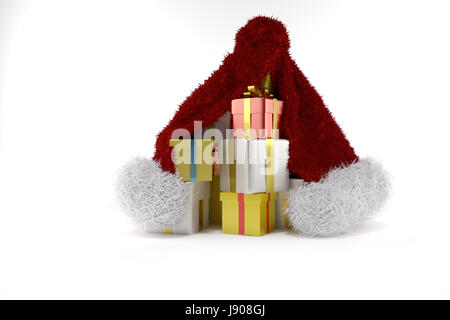3d rendering of isolated christmas gifts covering by christmas ceiling in front of white background - Stock Photo
