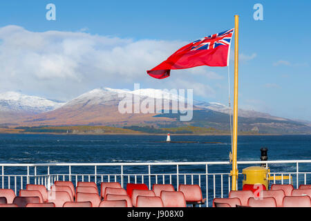 Scenic landscape beauty on the Isle of Mull, viewed from the upper deck of Caledonian Macbrayne ferry boat, Argyll - Stock Photo