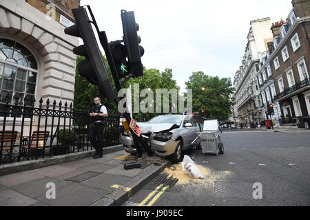 Car Crashed In To Lamp Post Stock Photo Royalty Free