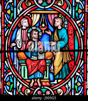 Scene from Life of Jesus, by Adolph Didron, Paris, 1860, stained glass window, Feltwell, Norfolk, England, UK, Jesus - Stock Photo