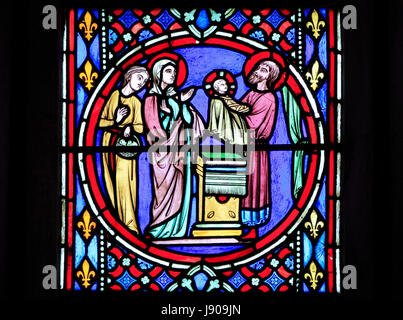Nativity Window, stained glass by Oudinot of Paris, 1861, Feltwell Church, Norfolk, Presentation of the infant Jesus, - Stock Photo