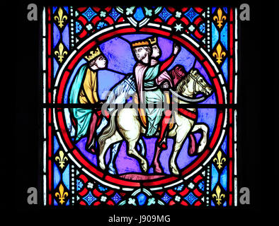 Nativity Window, stained glass window, by Oudinot of Paris, 1861, Feltwell Church, Norfolk.  The Magi, 3 three kings, - Stock Photo