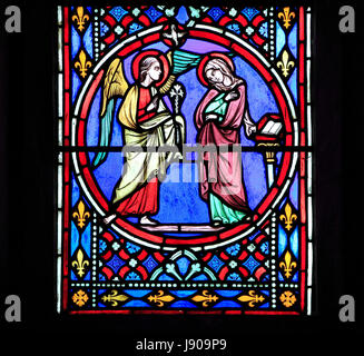 Nativity Window, stained glass by Oudinot of Paris, 1861, Feltwell Church, Norfolk, Annunciation by Archangel Gabriel - Stock Photo