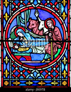 Nativity Window, stained glass by Oudinot of Paris, 1861, Feltwell Church, Norfolk, Nativity, stable, Mary, Joseph, - Stock Photo