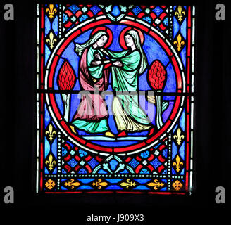 Nativity Window, stained glass by Oudinot of Paris, 1861, Feltwell Church, Norfolk, Visit of Virgin Mary to her - Stock Photo