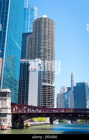 View from Chicago River Illinois modern contemporary skyscrapers Marina City aka Corn on the Cob high-rises buildings - Stock Photo