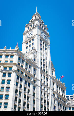 View from Chicago River Illinois modern contemporary skyscrapers high-rises buildings property blue sky sunshine - Stock Photo