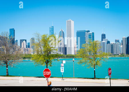 Chicago Illinois Near South Side East Solidarity Drive view panorama cityscape skyscrapers high-rise buildings Lake - Stock Photo