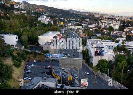 Aerial view above the Sunset Strip in the West Hollywood neighborhood of Los Angeles, CA., USA - Stock Photo