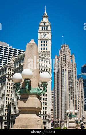 Chicago Illinois Near Side North Magnificent Mile Michigan Avenue Wrigley Building & Tribune Tower street lights - Stock Photo