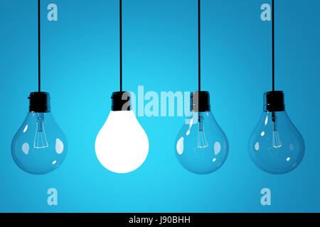 realistic lightbulbs on blue background in 3D rendering - Stock Photo