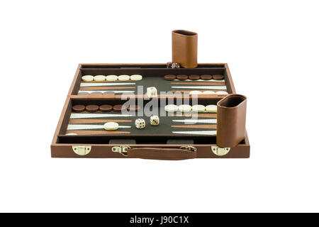 An entire backgammon board game set up and ready for play. Isolated on a pure white background. - Stock Photo