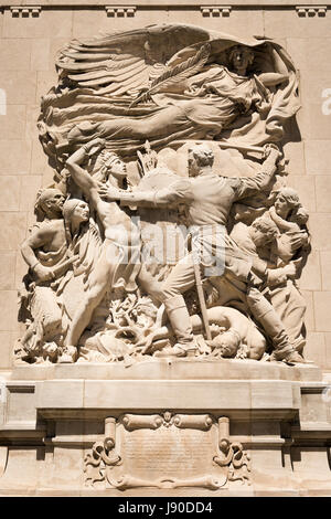 Chicago Illinois Near Side North Magnificent Mile Michigan Avenue Bridge memory bas relief Defence Fort Dearborn - Stock Photo