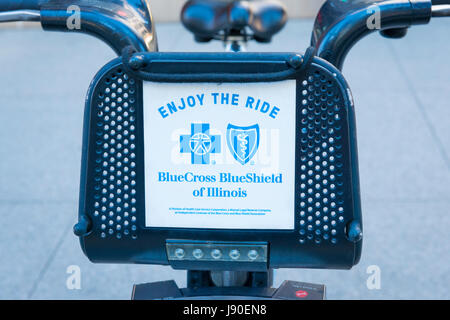 Chicago Illinois Divvy Bike bikes hire bicycle bicycles cycle cycles Enjoy the Ride sponsor sponsors licensee licensees - Stock Photo