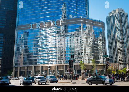 Chicago Illinois detail modern glass reflective Trump International Hotel & Tower skyscraper skyscrapers blue sky - Stock Photo
