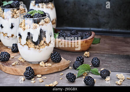Blackberry parfaits made with Greek yogurt, granola and fresh blackberries. Extreme shallow depth of field with - Stock Photo