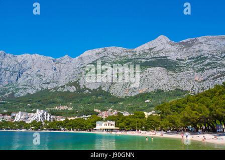 Plaza Donja Luka, the main beach, Biokovo mountains, Makarska, Dalmatia, Croatia - Stock Photo