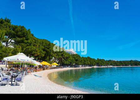 Plaza Donja Luka, the main beach, Makarska, Dalmatia, Croatia - Stock Photo