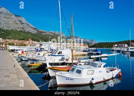 Harbour for local boats, Obala kralja Tomislava, seaside promenade, Makarska, Dalmatia, Croatia - Stock Photo