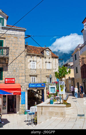 Stari Mlin restaurant and shops, Kalalarga, Kala Larga, Siroka ulice, Makarska, Dalmatia, Croatia - Stock Photo