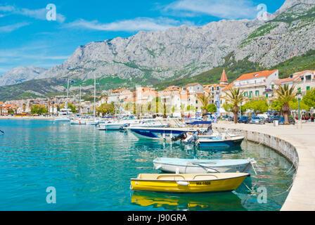 Marineta, seaside promenade, Makarska, Dalmatia, Croatia - Stock Photo