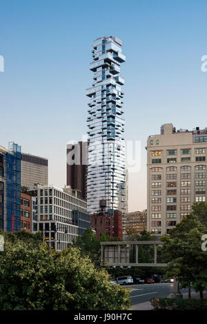 Contextual exterior view from the North at dusk. 56 Leonard Street, New York, United States. Architect: Herzog + - Stock Photo