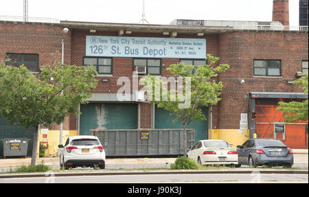 New York, New York, USA. 30th May, 2017. A view the former 126th Street Bus Depot in Upper Manhattan. Plans have - Stock Photo